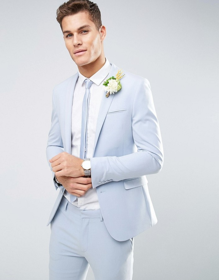 Asos Wedding Super Skinny Suit Jacket In Soft Blue | Where to buy ...