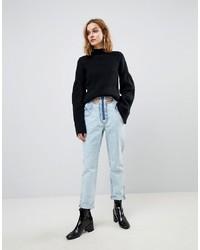 ASOS DESIGN Asos Original Mom Jeans In Light Vintage Wash With Cut Away Self Belt