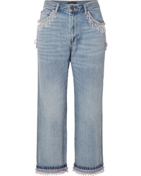 Marc Jacobs Cropped Bead Embellished Boyfriend Jeans