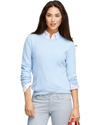 Light Blue Cable Sweater