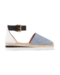 See by Chloe Leather And Denim Platform Espadrilles