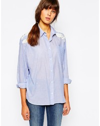 Essentiel Antwerp Shirt In Chambray With Embroidered Placket