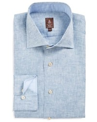 Trim fit chambray linen dress shirt medium 590059