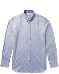 Canali Button Down Collar Cotton Chambray Shirt