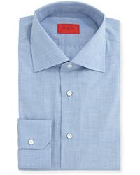 Isaia Woven Chambray Solid Dress Shirt Light Blue