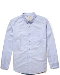 VISVIM Lungta Printed Panelled Cotton Chambray Shirt