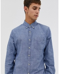 J.Crew Mercantile Stretch Chambray Shirt In Blue