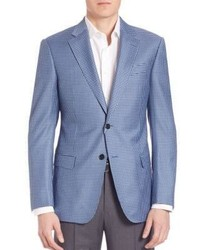 Light Blue Check Wool Blazer