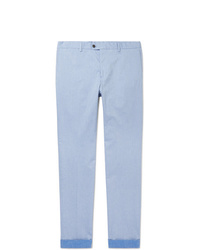 Tod's Sky Blue Mlange Tapered Solaro Stretch Cotton Trousers