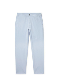 Ermenegildo Zegna Stretch Cotton And Silk Blend Twill Drawstring Trousers
