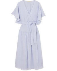 Light Blue Cotton Wrap Dress