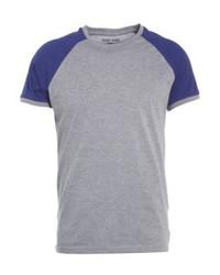 YOURTURN Print T Shirt Mottled Greydark Blue