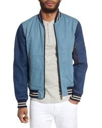Light Blue Denim Bomber Jacket