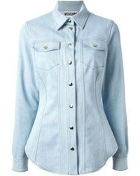 Light Blue Denim Button Down Blouse