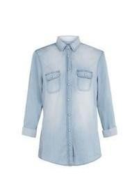 Exclusives New Look Tall Blue Roll Sleeve Denim Shirt