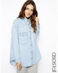 Asos Tall Tall Oversized Denim Boyfriend Shirt In Light Wash Blue