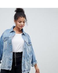 Asos Curve Asos Design Curve Denim Girlfriend Jacket In Lightwash Blue