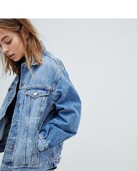 Asos Petite Asos Design Petite Denim Girlfriend Jacket In Lightwash Blue