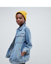 Asos Petite Asos Design Petite Denim Girlfriend Jacket In Stonewash Blue