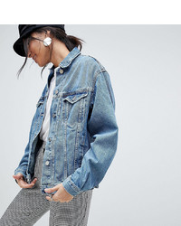 Asos Tall Asos Design Tall Denim Girlfriend Jacket In Midwash Blue