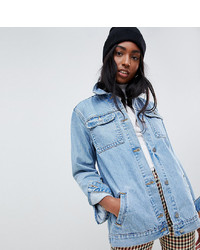 Asos Tall Asos Design Tall Denim Girlfriend Jacket In Stonewash Blue