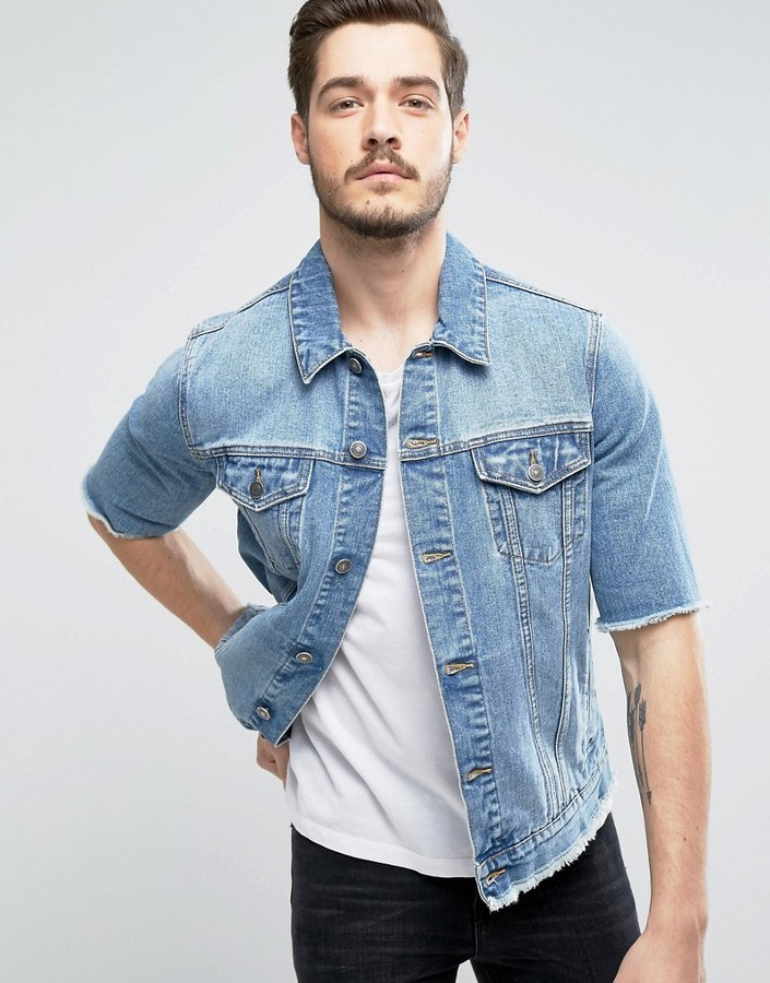 ... Asos Denim Jacket With Cut Off Sleeve In Mid Wash