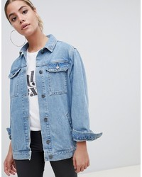 ASOS DESIGN Denim Girlfriend Jacket In Stonewash Blue
