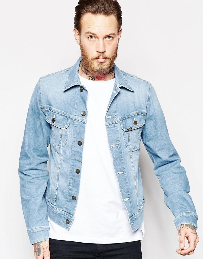 hot-selling newest multiple colors attractivedesigns £128, Lee Denim Jacket Slim Fit Rider Light Wash Stretch