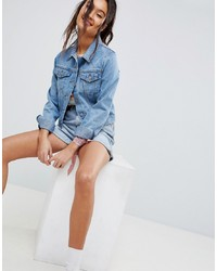 ASOS DESIGN Denim Shrunken Jacket In Midwash Blue