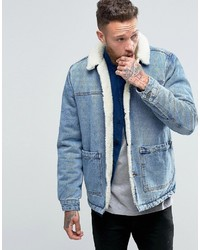 Asos Fleece Lined Denim Jacket In Blue Wash