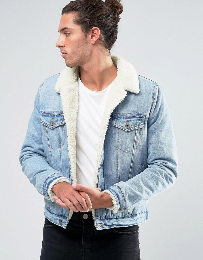 Asos Fleece Lined Denim Jacket In Mid Wash | Where to buy & how to ...
