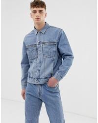 Calvin Klein Jeans Icons Oversized Iconic Omega Denim Trucker Jacket In Iconic Mid Stone Wash