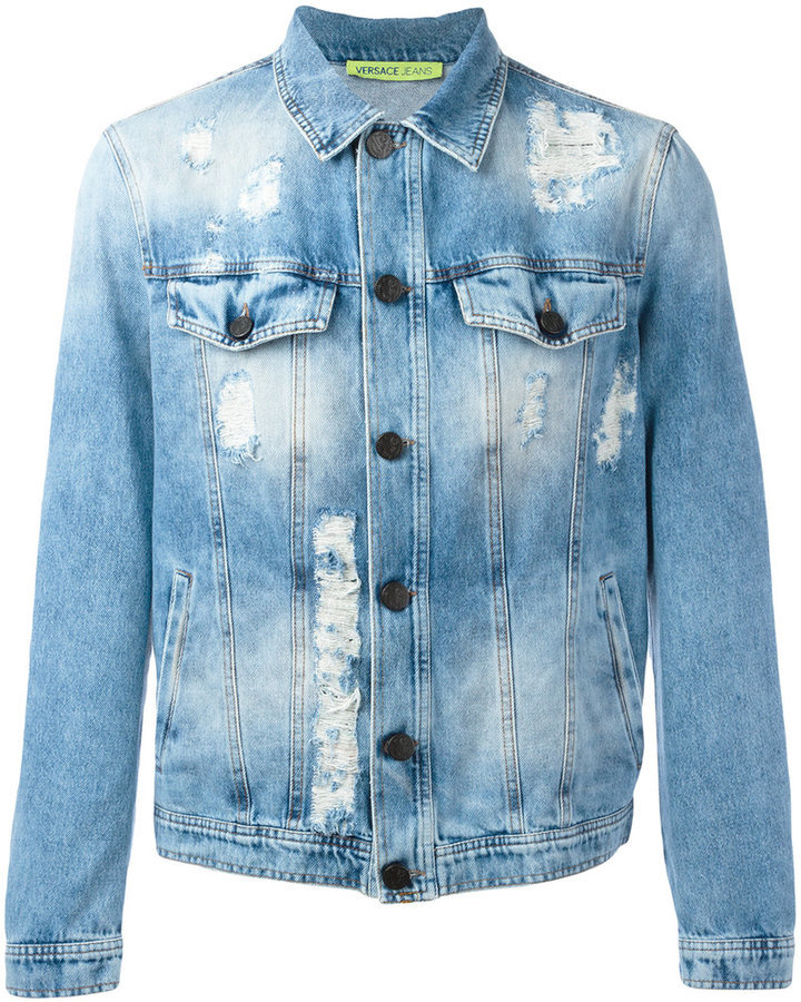 replicas bright n colour on feet at Jeans Distressed Denim Jacket