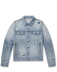 Balmain Logo Embroidered Distressed Denim Jacket