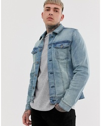 BLEND Slim Fit Denim Jacket With Stretch In Light Wash Blue