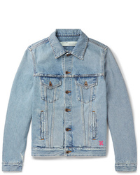 Off-White Slim Fit Logo Print Denim Jacket