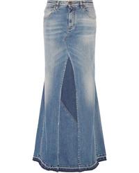 Roberto Cavalli Paneled Stretch Denim Maxi Skirt Mid Denim