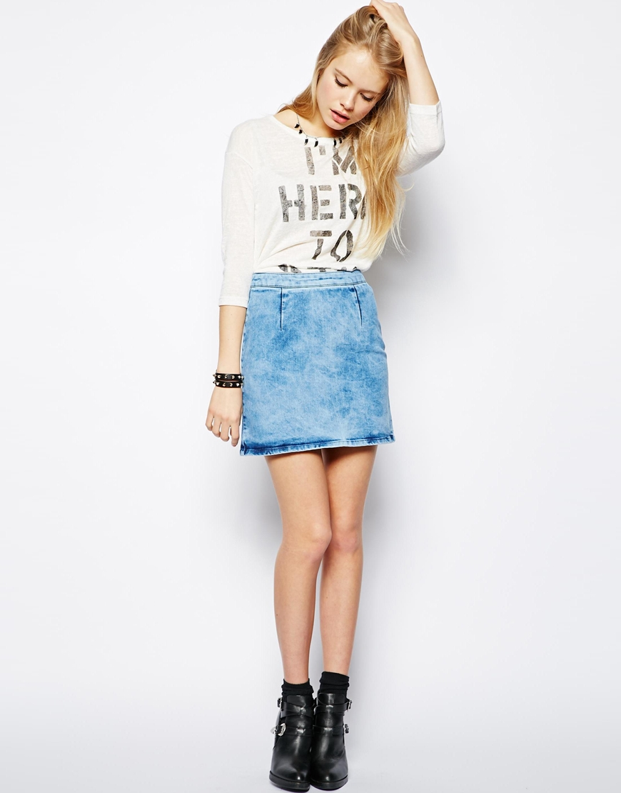 Asos A Line Denim Skirt In Light Blue   Where to buy & how to wear
