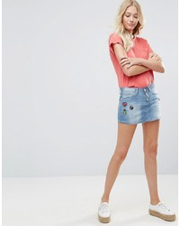 Blend She Blend Bright Lil Patches Denim Mini Skirt