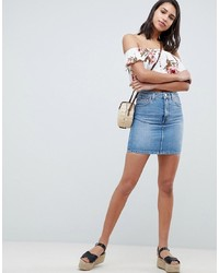 ASOS DESIGN Denim Original High Waisted Skirt In Stonewash Blue