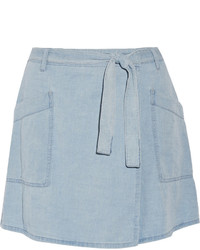 MM6 MAISON MARGIELA Denim Wrap Mini Skirt Light Denim
