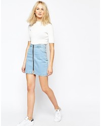 Good Vibes Bad Daze Zip Front Denim Mini Skirt