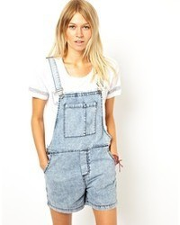 Asos Denim Overall Shorts In Vintage Wash
