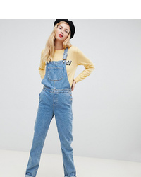 Asos Tall Asos Design Tall Denim Dungaree In Stonewash Blue
