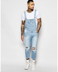 c4175c0ae37f Asos Brand Denim Overalls In Skinny With Rips In Light Wash