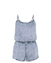 New Look Blue Acid Wash Denim Playsuit