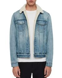 Light Blue Denim Shearling Jacket