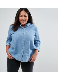 Asos Curve Asos Design Curve Denim Shirt In Midwash Blue