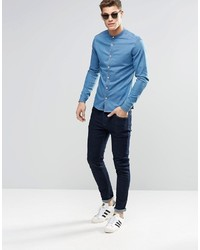 38deb122b9b ... Asos Brand Skinny Denim Shirt In Mid Wash With Grandad Collar And Long  Sleeve