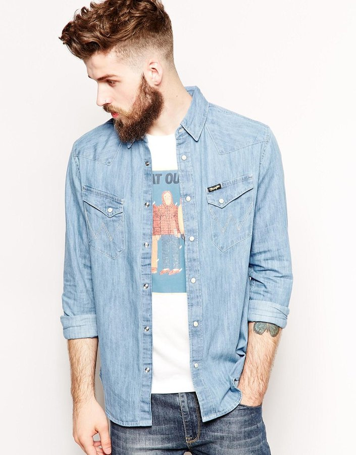 73661c3b820243 Wrangler Denim Shirt Slim Fit City Western Light Indigo, £64 | Asos ...